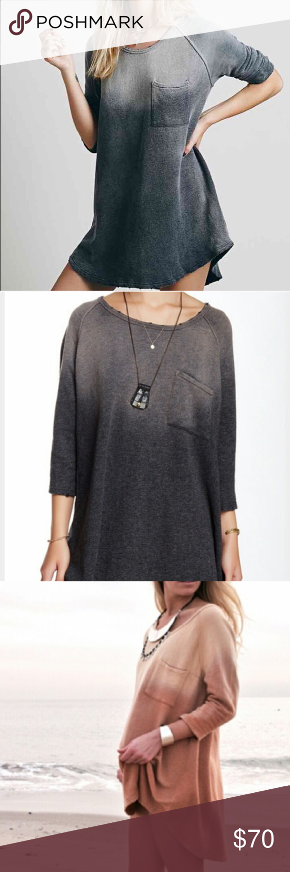 Free People ombré tunic dress New with tags. Free People ombré tunic dress. Lightweight sweatshirt material. Color seen in first two photos. Size medium but runs a little big, could also fit a large. Free People Tops Tunics