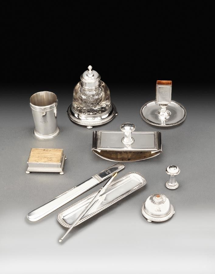 A Faberge Ten Piece Silver Desk Set Workmaster Anders Nevalainen Moscow 1899 1908 Br Br Height Of Ink Well 15 25cm Antique Inkwells Silver Desk Faberge