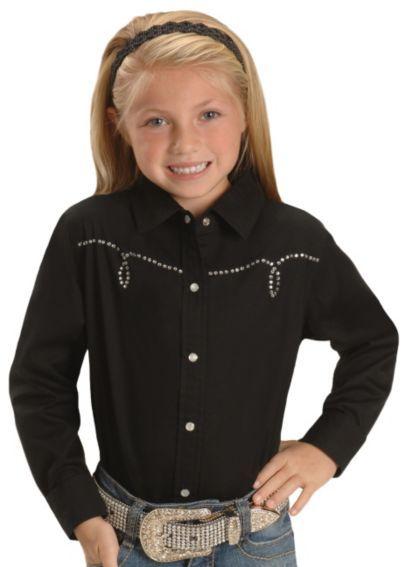 58abaaa8a974cb Cumberland Outfitters Girls  Rhinestone Yoke Western Shirt - 4-16 - Sheplers
