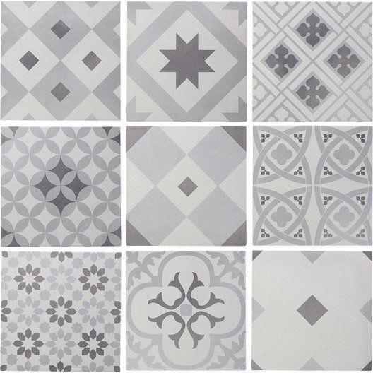 Carrelage sol et mur blanc  gris effet ciment Gatsby l20 x L20 cm