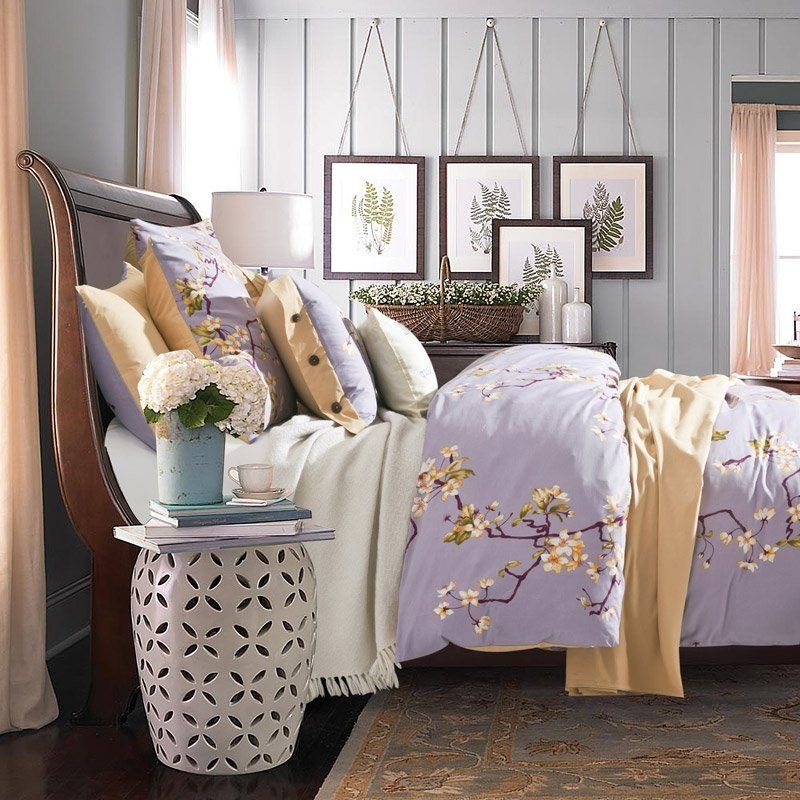 Lilac And Yellow Plum Flower Print Country Chic Rustic Style Simply Vintage Soft Durable 100 Cotton Damask Ful Vintage Bedding Set Yellow Bedding Bedding Sets