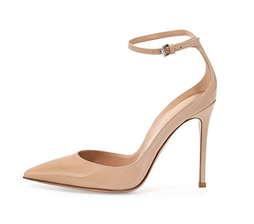 c66ef960935 Eldof Womens 100mm Pointed Toe Patent Low Collar Ankle Wrap Pump Party  Dress Shoes Patent Leather US8   Details can be found by clicking on the  image.