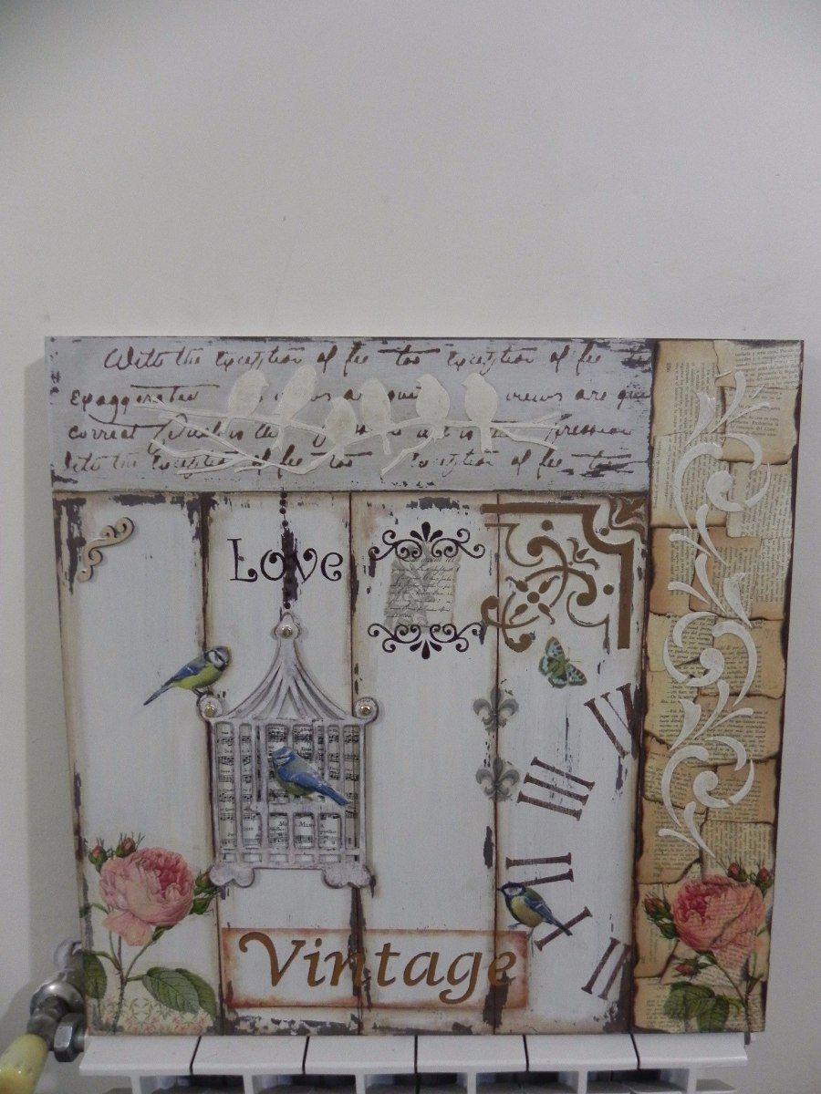 Cuadro romantico vintage artesanal shabby chic bastidor - Cuadros shabby chic ...