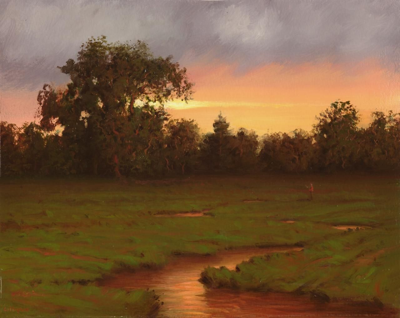 Copper Meadow is an original oil painting by Richard Lithgow of water running through a grassy meadow and a man casting a fishing line into the creek in front of New York forests and under a purple and pink sky.