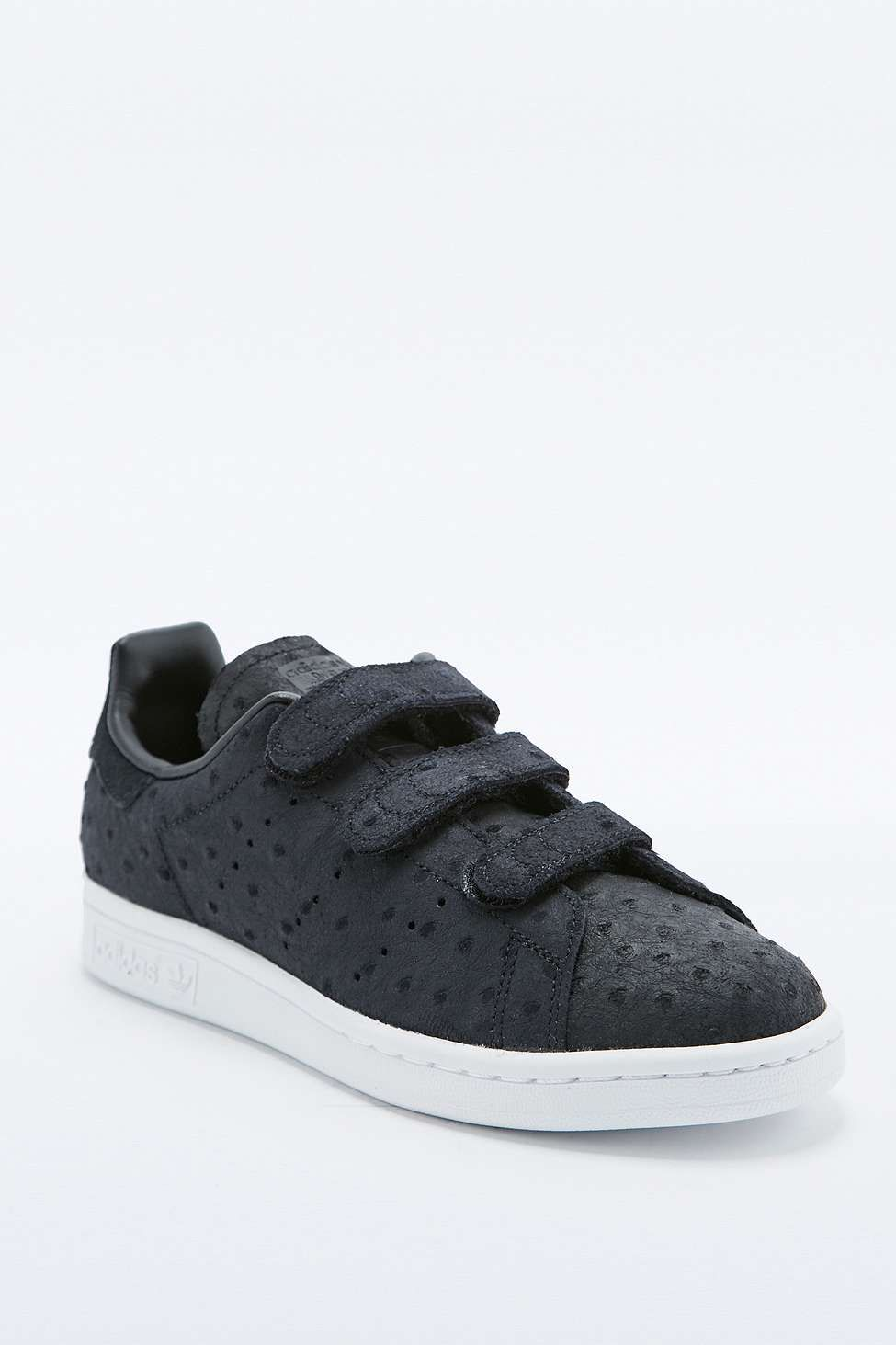 adidas Originals Stan Smith Textured Black Hook and Loop ...