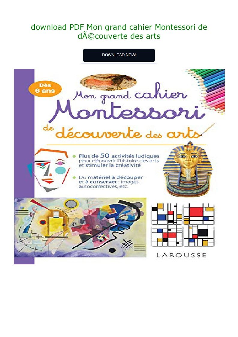 Download Pdf Mon Grand Cahier Montessori De Da C Couverte Des Arts