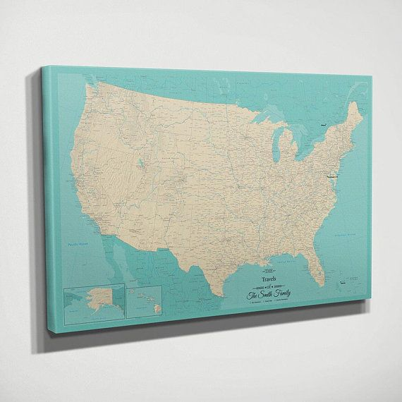 GALLERY WRAPPED Personalized Canvas Pin Map - Teal Dream USA Travel ...