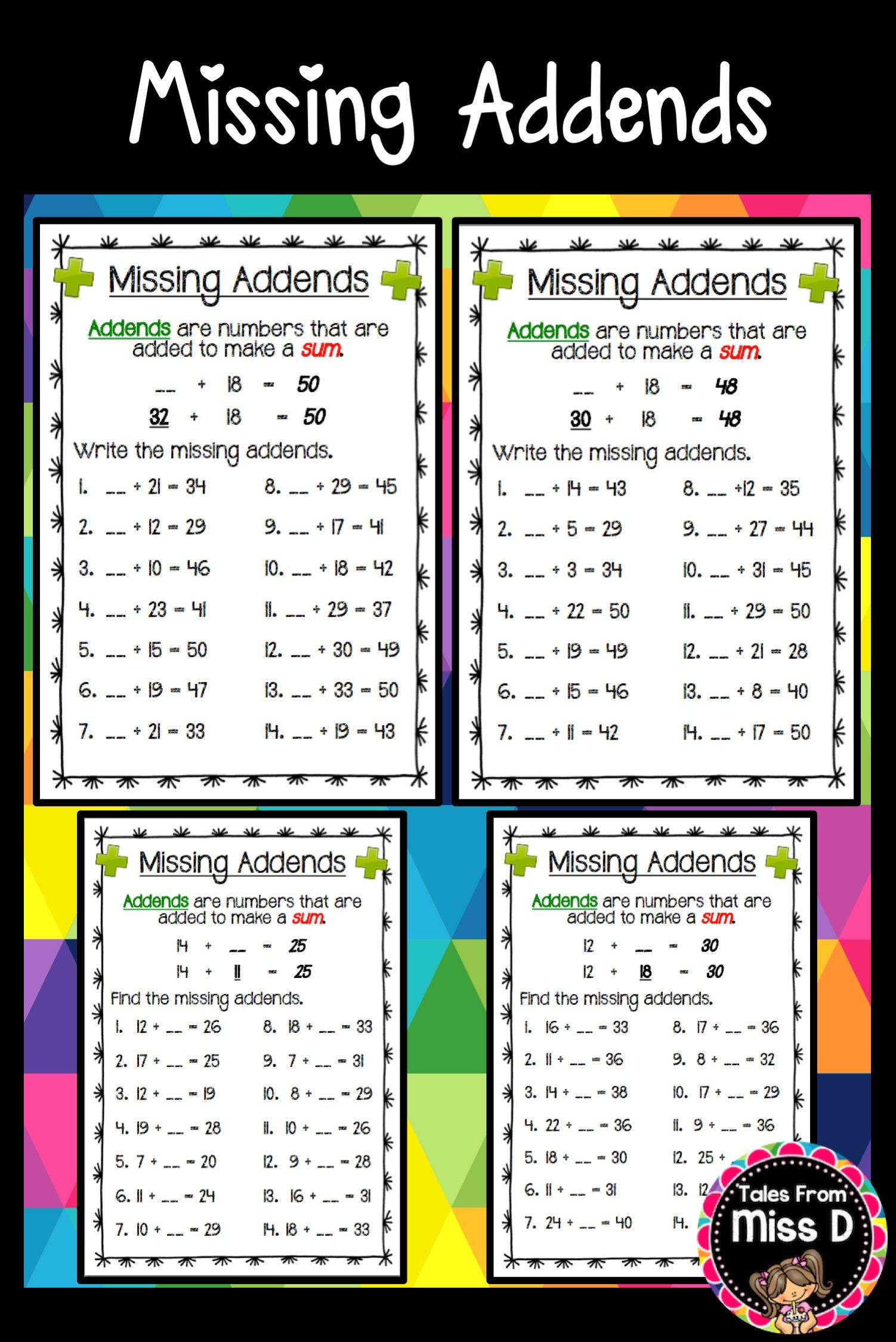 These Missing Addends worksheets gives students practice identifying [ 2249 x 1502 Pixel ]