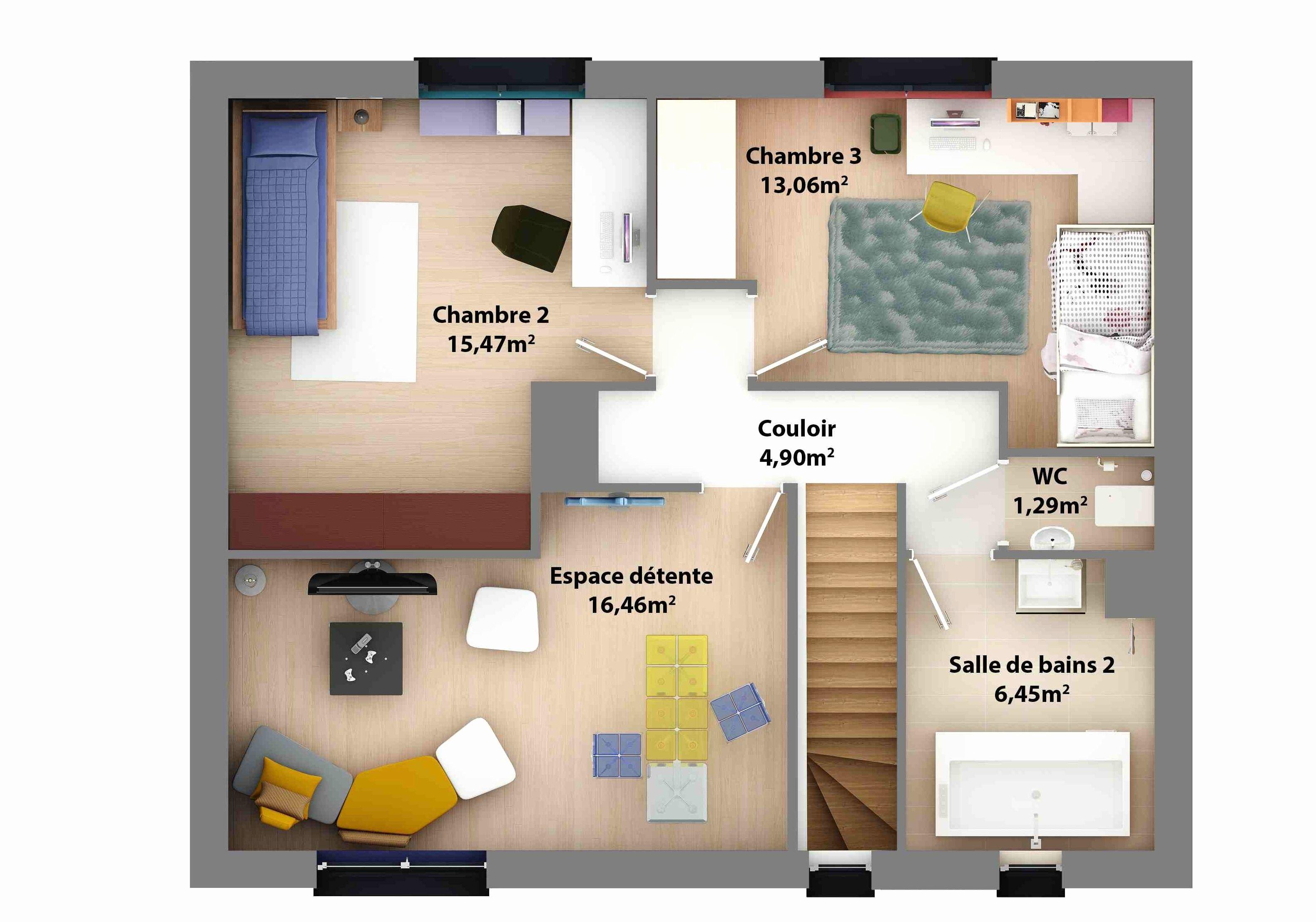 plan de maison a etage 90m2