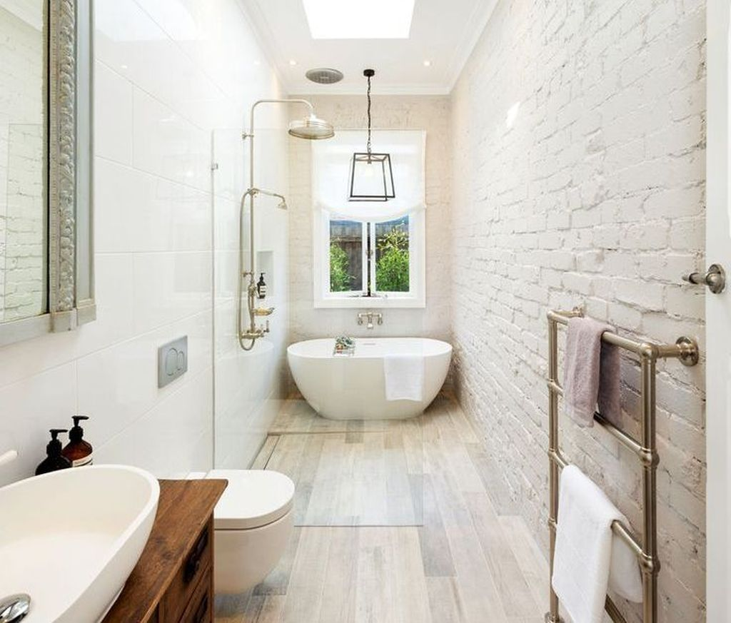 46 Smart Bathroom Design Ideas For Small Spaces Long Narrow Bathroom Narrow Bathroom Designs Bathroom Layout