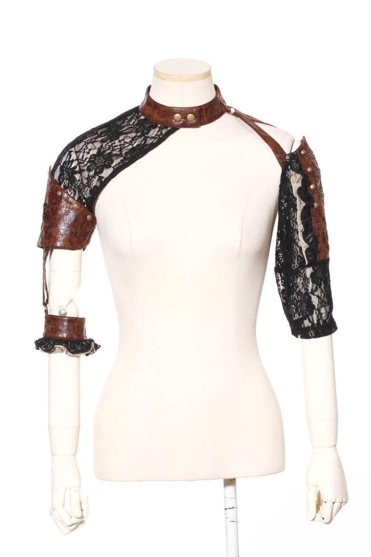 Vampire leather lace shrug steampunk arm warmer kazimiera