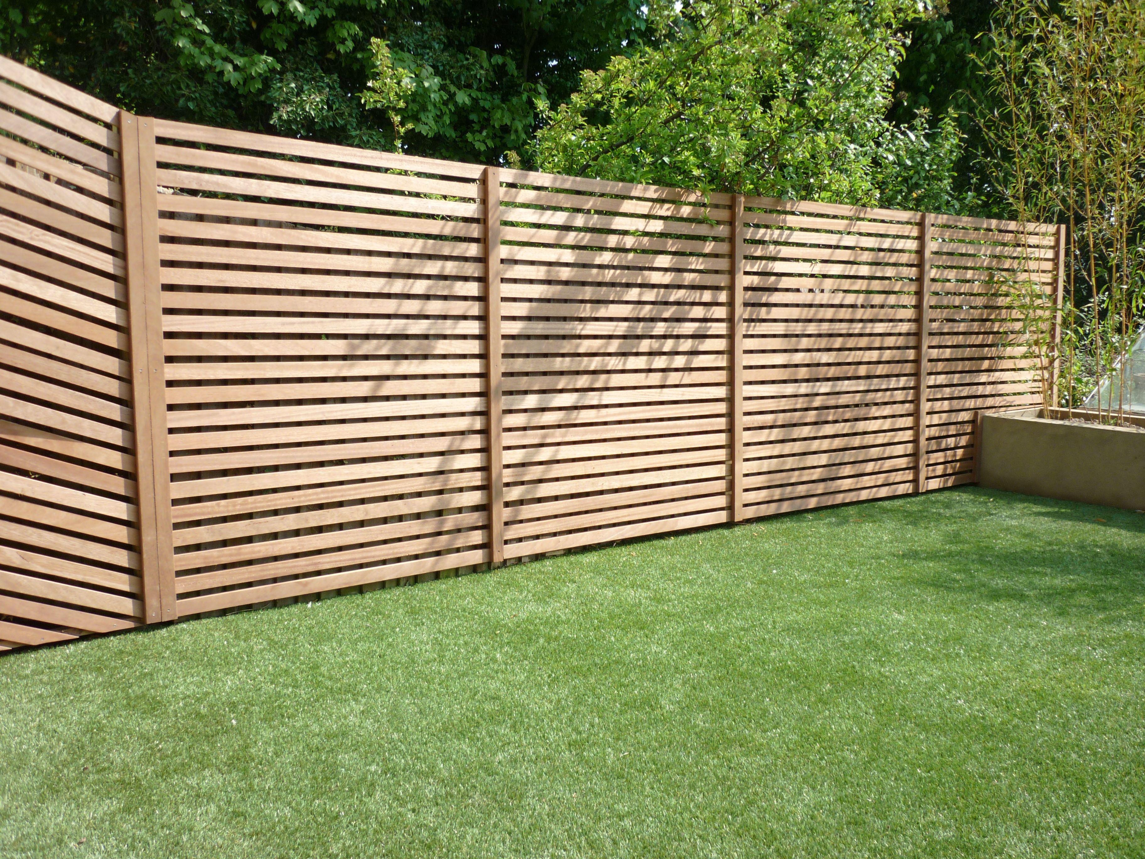 Iroko slatted fence Bespoke timberwork Pinterest