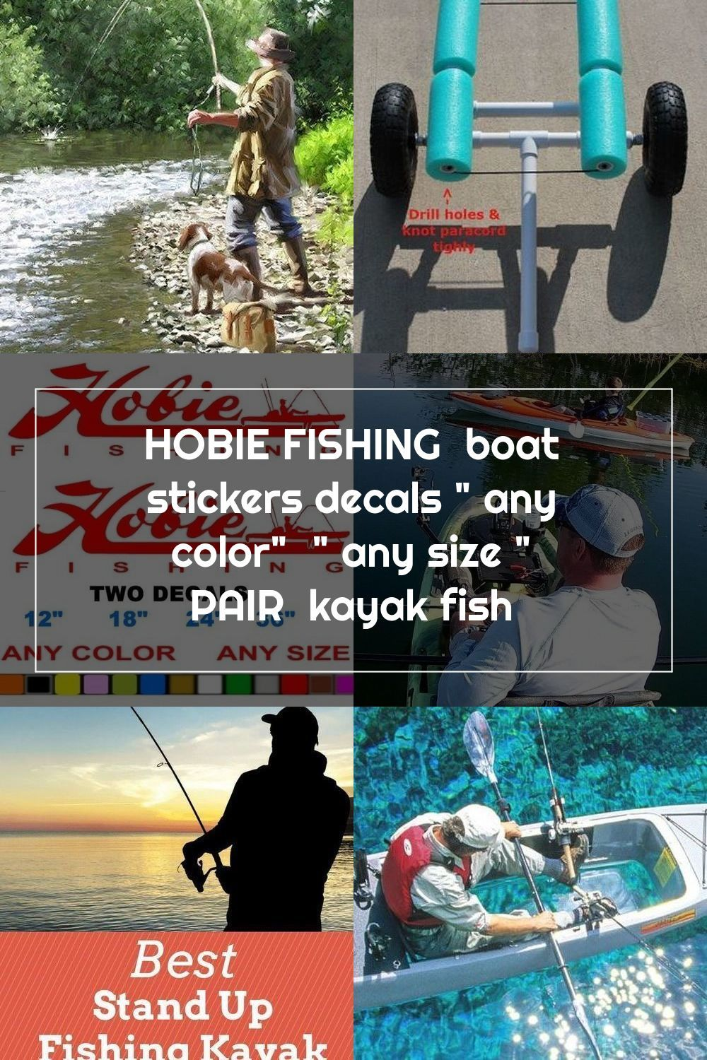 Hobie Fishing Boat Stickers Decals Any Color Any Size Pair Kayak Fish
