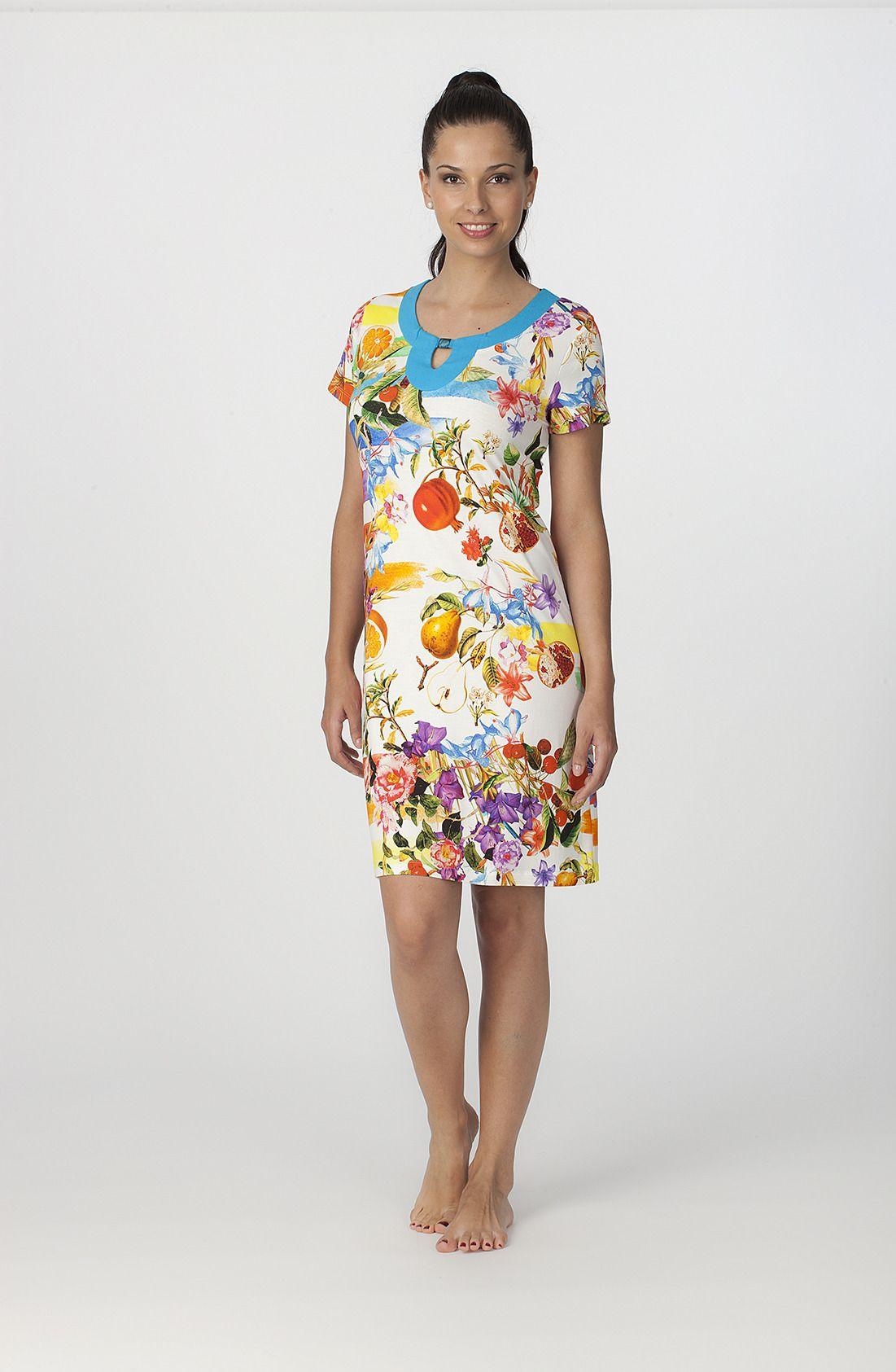 Vestido manga corta modelo Fruit de la firma textil Egatex. http://www.perfumeriaelajuar.com/homewear/vestido-mujer--verano/34/