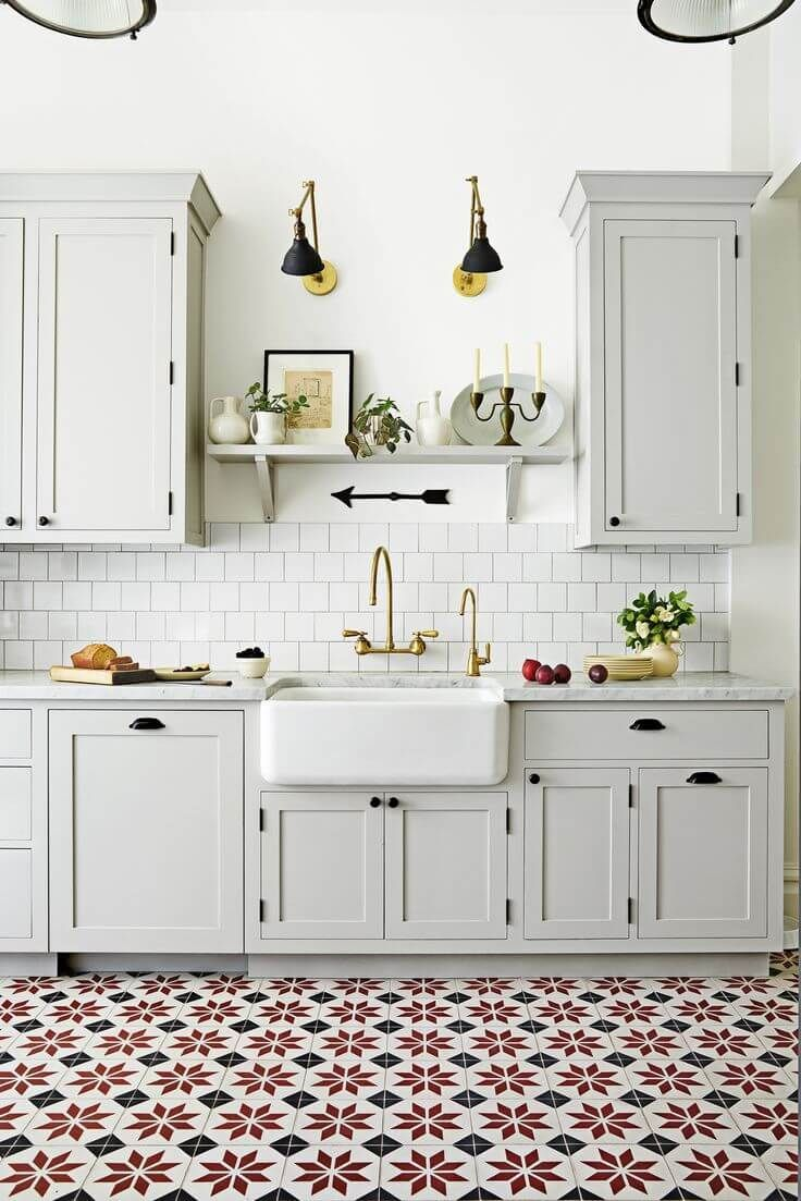 Kitchen With Bright And Bold Red Decorative Ceramic Floor Tiles And A Farmhouse Style Apron Sink Nonago Kitchen Trends Kitchen Flooring Kitchen Design Trends