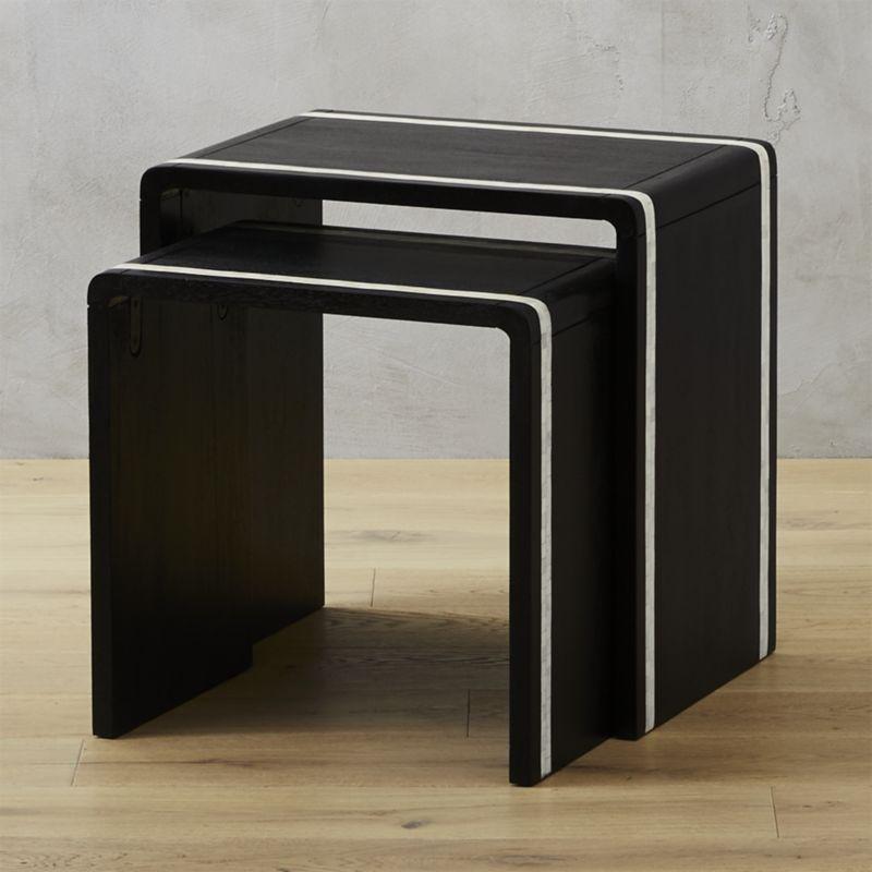 Bianca Bone Inlay Black Nesting Tables