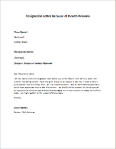 Resignation Letter Because Of Health Reasons Download At Http
