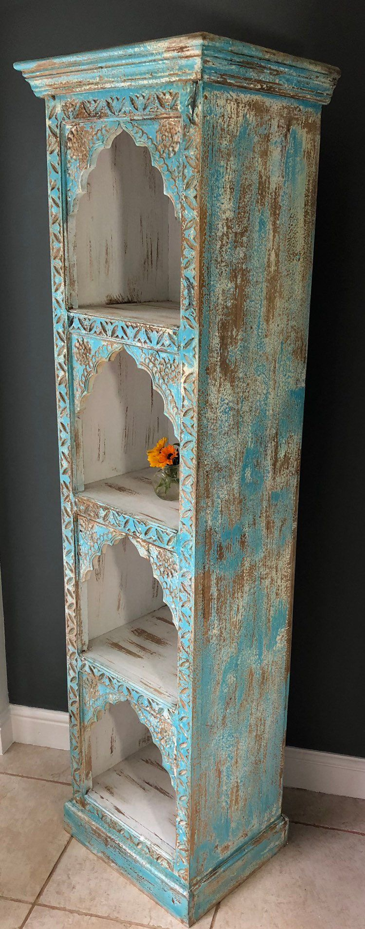 Indian mehrab hand carved bookshelf bookcase furniture home and