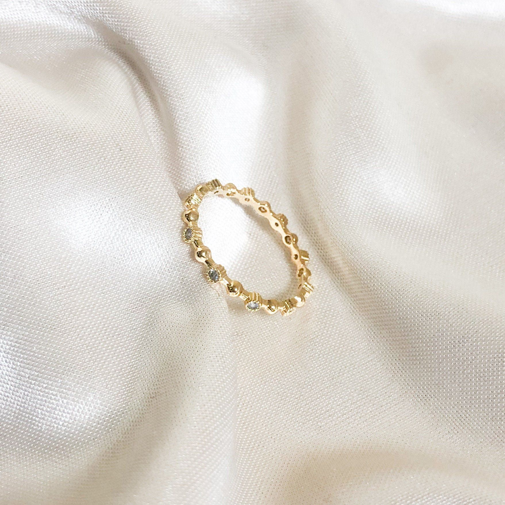 Photo of Cubic zirconia ring, Dainty ring, Stacking ring, Minimalist ring, Dainty jewelry, Minimalist jewelry, Tiny cz ring, Gold dainty ring