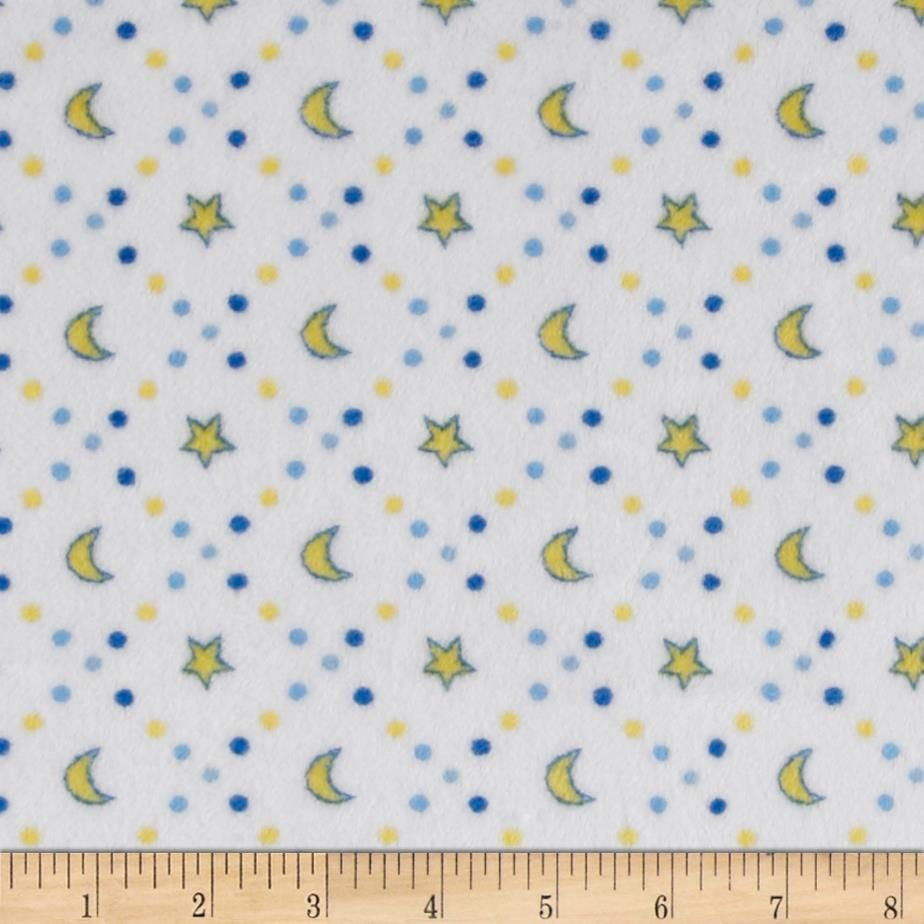 This soft and plush Cuddle minky fabric features a print of stars and moons in Banana outlined in Electric Blue and surrounded by dots in Baby Blue, Electric Blue, and Sky; all on a Snow White background. Ideal for baby blankets and accessories, quilts and plush toys.