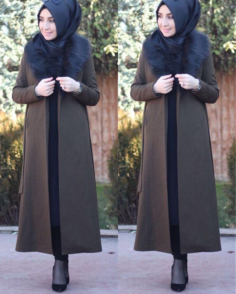 Kurk Yaka Tesettur Kase Kaban Modelleri Basortusu Modasi Moda Stilleri Zara