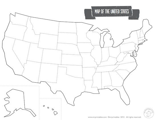 Printable Map Of The USA Mr Printables Blank Social Studies - Printable us outline map