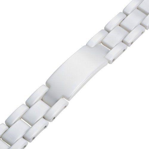 R&B Joyas - Pulsera hombre, brazalete lazos y placa de identidad, cerámica blanca, color blanco: Amazon.es: Joyería