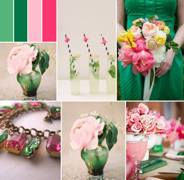Colour Crush Emerald Green With Pink: Fabulous Pink Wedding Color Combo Ideas For Different