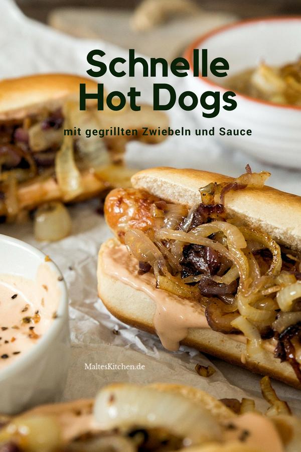 Hot Dogs mit Bratwurst, schneller Hot Dog Sauce & gegrillten Zwiebeln