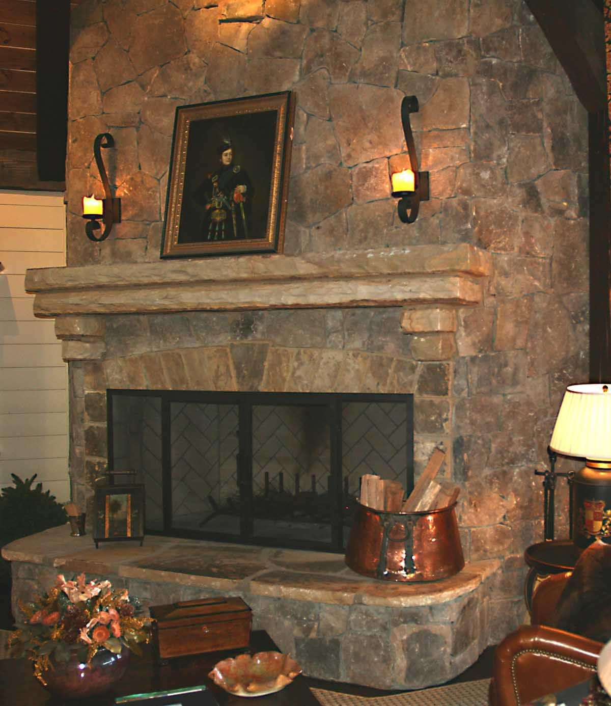 Stone Fireplace Hearth Ideas Large Stone Fireplace With Angled