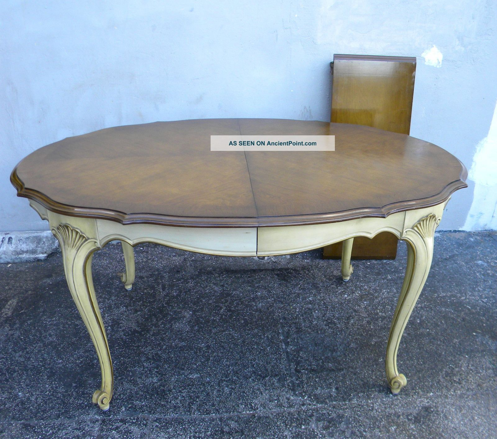 French Painted Cherry Dining Table With 1 Leaf 1811 Post