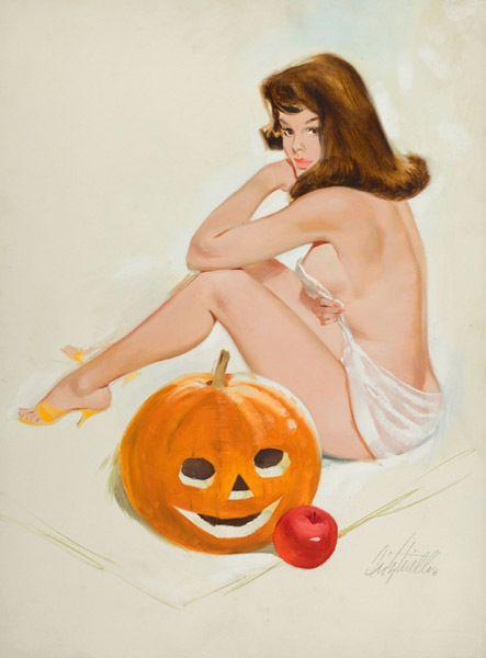 "Halloween Vintage Pin Up Girl with Pumpkin 11 x 14/""  Photo Print"