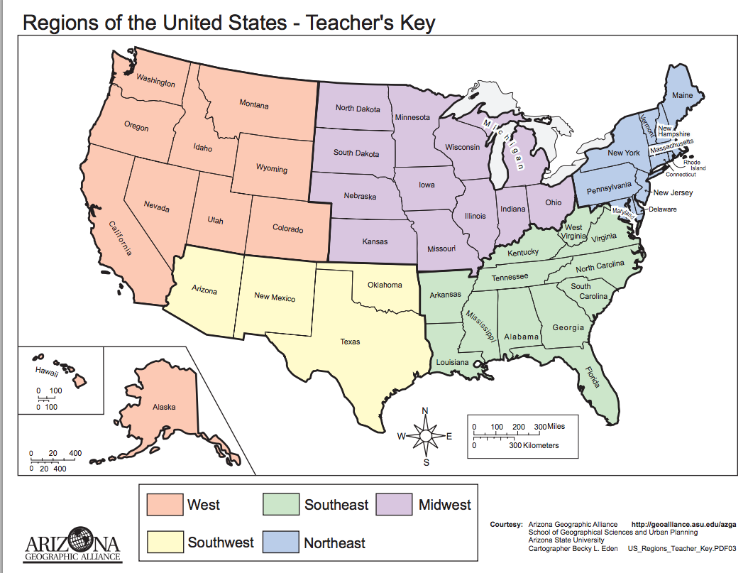 United States Regions Worksheets