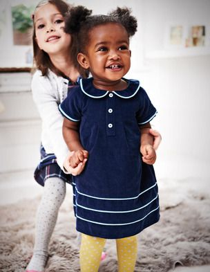 Corduroy Dress With Contrasting Piping Mini Boden Kleinkram