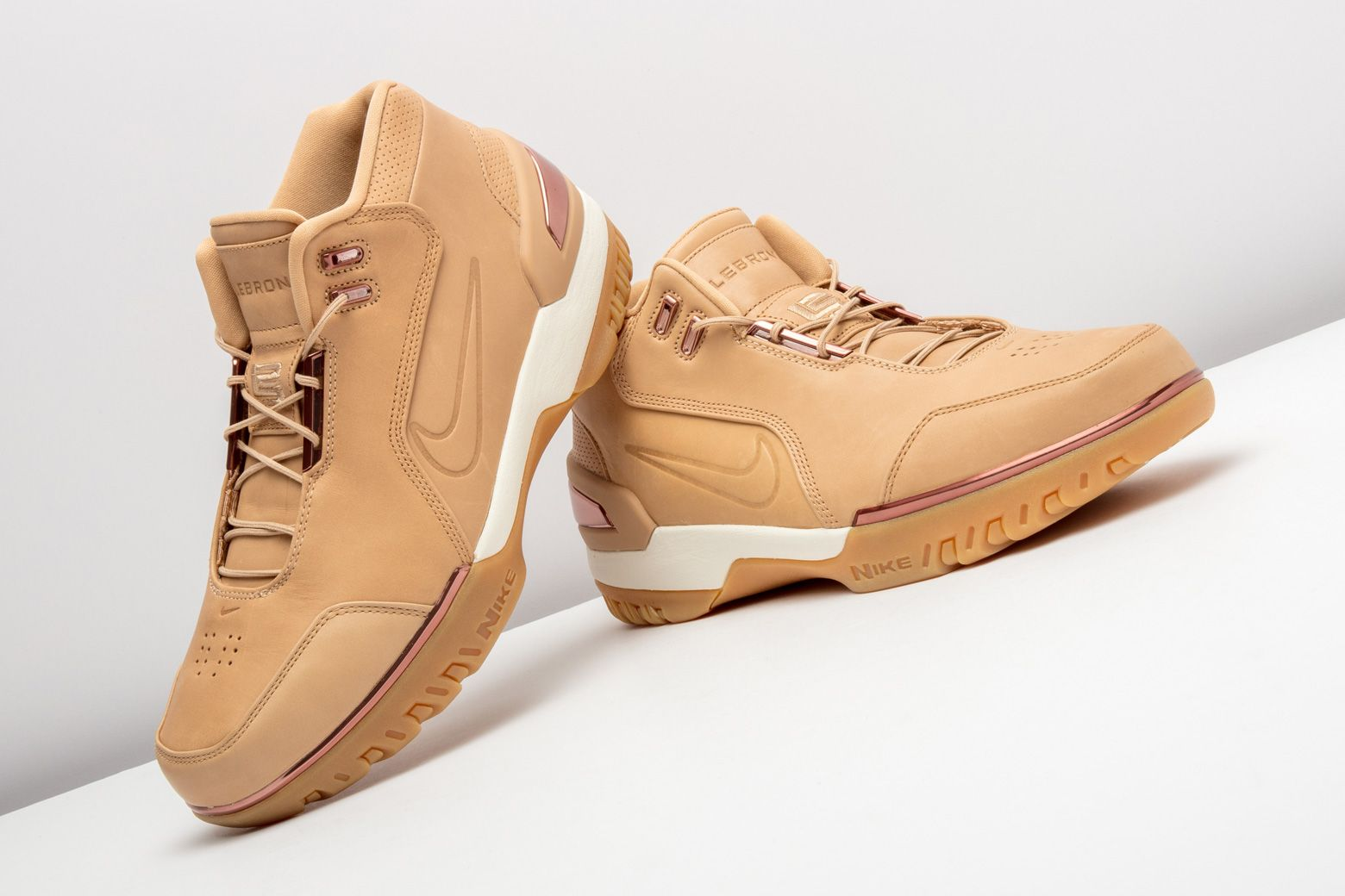 super popular 1e943 ae46f Vachetta Tan leather construction invades LeBron James  first signature shoe,  the Nike Air Zoom Generation.  Nike