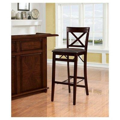 Miraculous Triena X Back Folding Bar Stool Linon Home Decor Black Ncnpc Chair Design For Home Ncnpcorg