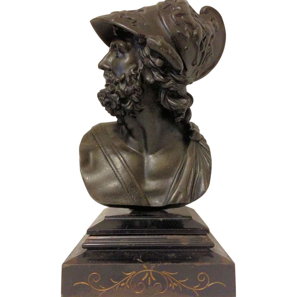 Great Rare Vintage Bronzed Bust of Ajax the Greek Warrior ...