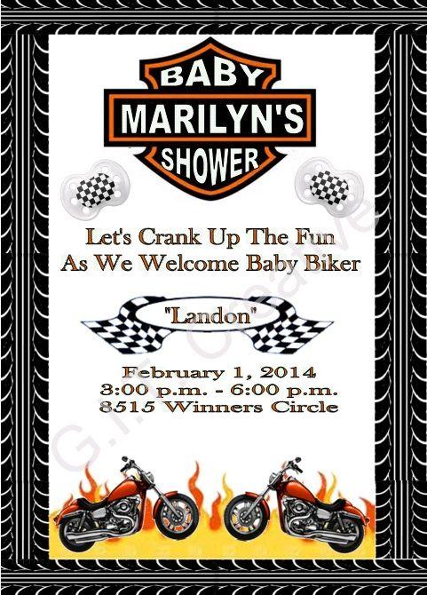Elegant Harley Davidson Motorcycle Baby Shower Invitation