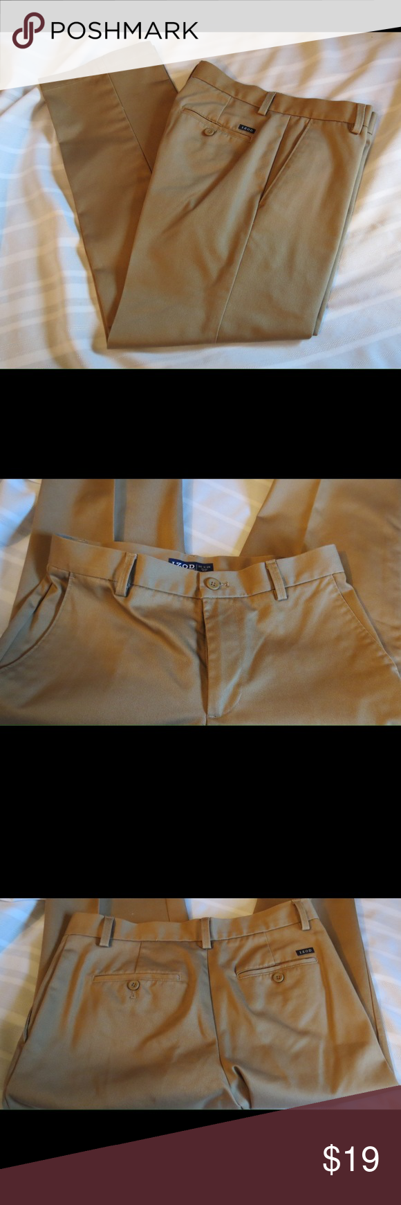 "Izod Tan Khaki Pants Size 30 X 29 Izod Tan Khaki Pants Size 30 X 29  Size 30    Length  29""   Gently used excellent condition, dry cleaned! All of my items are Guaranteed 100% Genuine I do not sell FAKES of any kind No Trades (C1013) Izod Pants Chinos & Khakis"