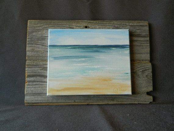 Hand Painted Seascape On Canvas Beach Cottage Camping Wall Art