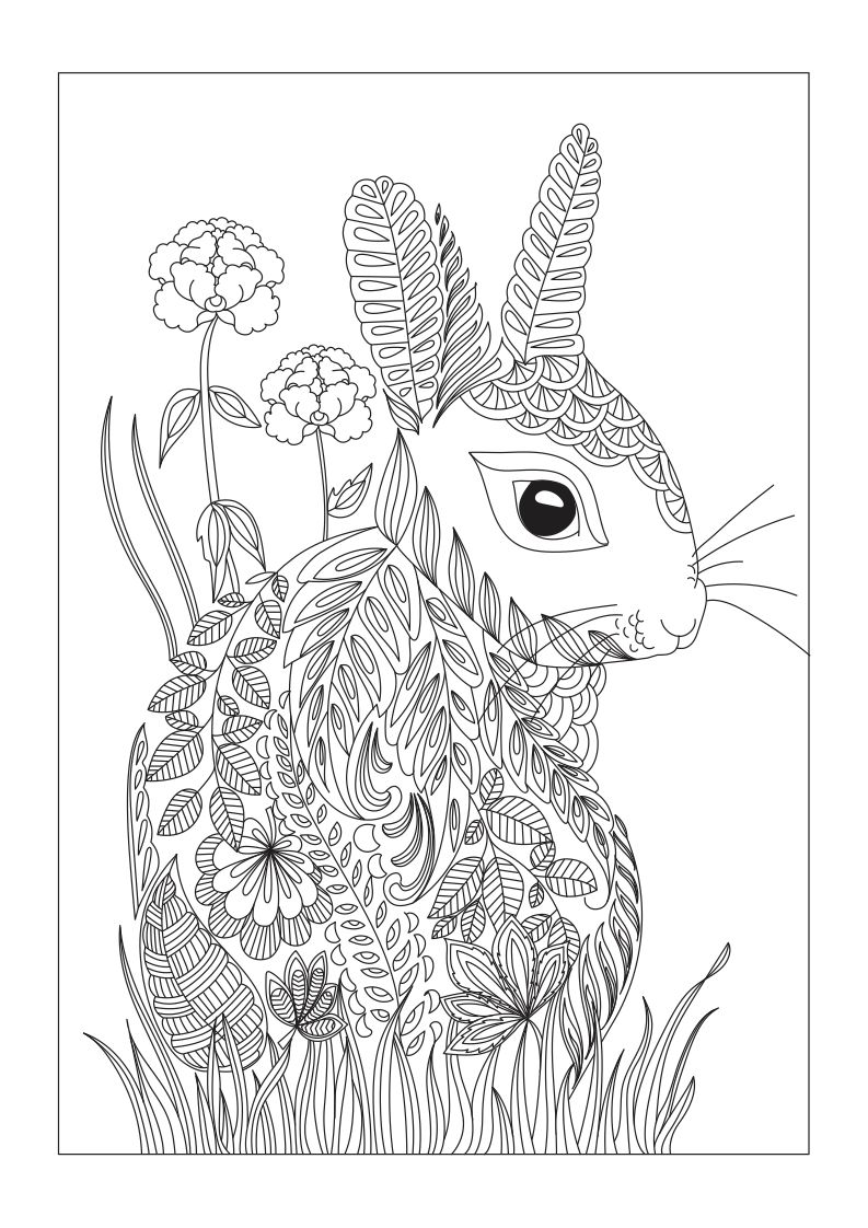 free rabbit or hare coloring page made of leaves and