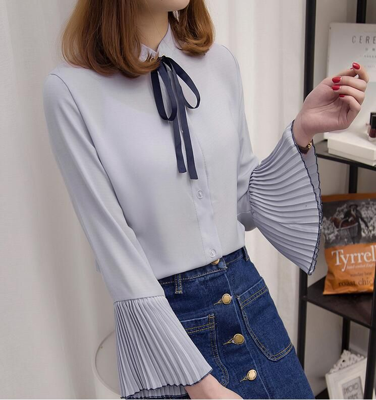 ee7b2d3a569 Free Shipping Collage Style Bowknot Tie Stand Collar Flare Sleeve Pure  Color Long Sleeve Woman Chiffon