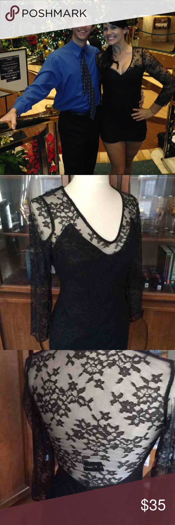 Express Timeless Lace Long-Sleeved Dress. This timeless dress got me loads of compliments on formal night. Only wore once, perfect condition! Open back lace, cuts perfectly around the bust and butt. Express Dresses Long Sleeve