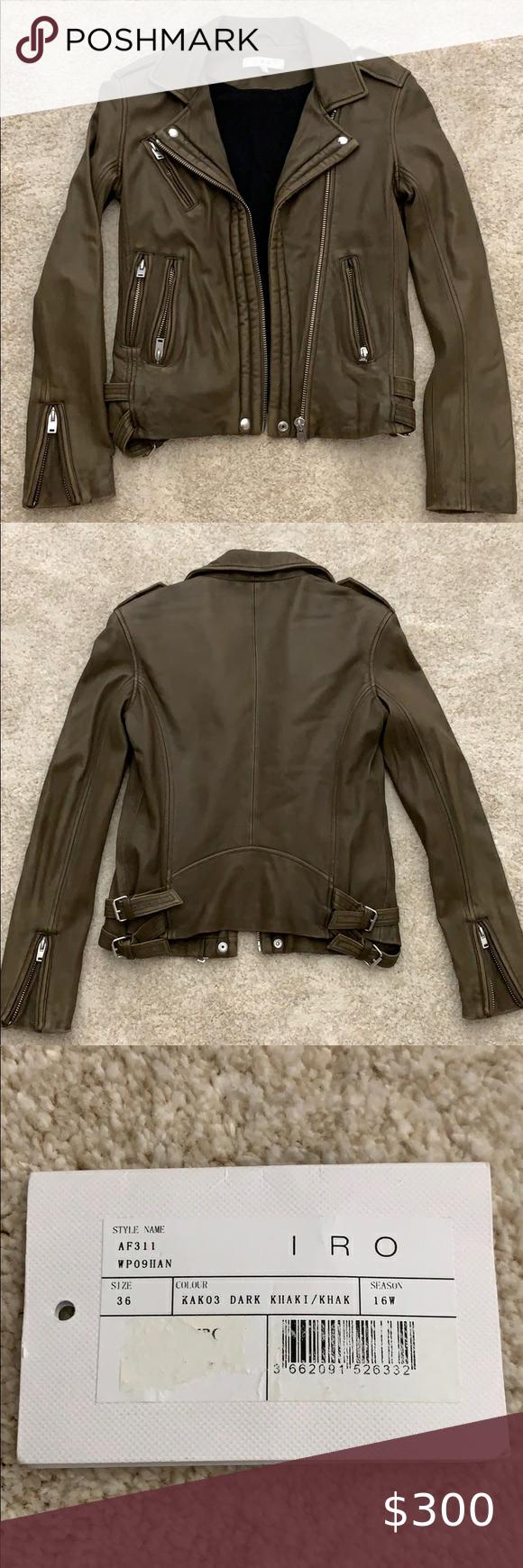 Iro Han Dark Khaki Leather Moto Jacket Leather Moto Jacket Dark Khaki Moto Jacket Style [ 1740 x 580 Pixel ]