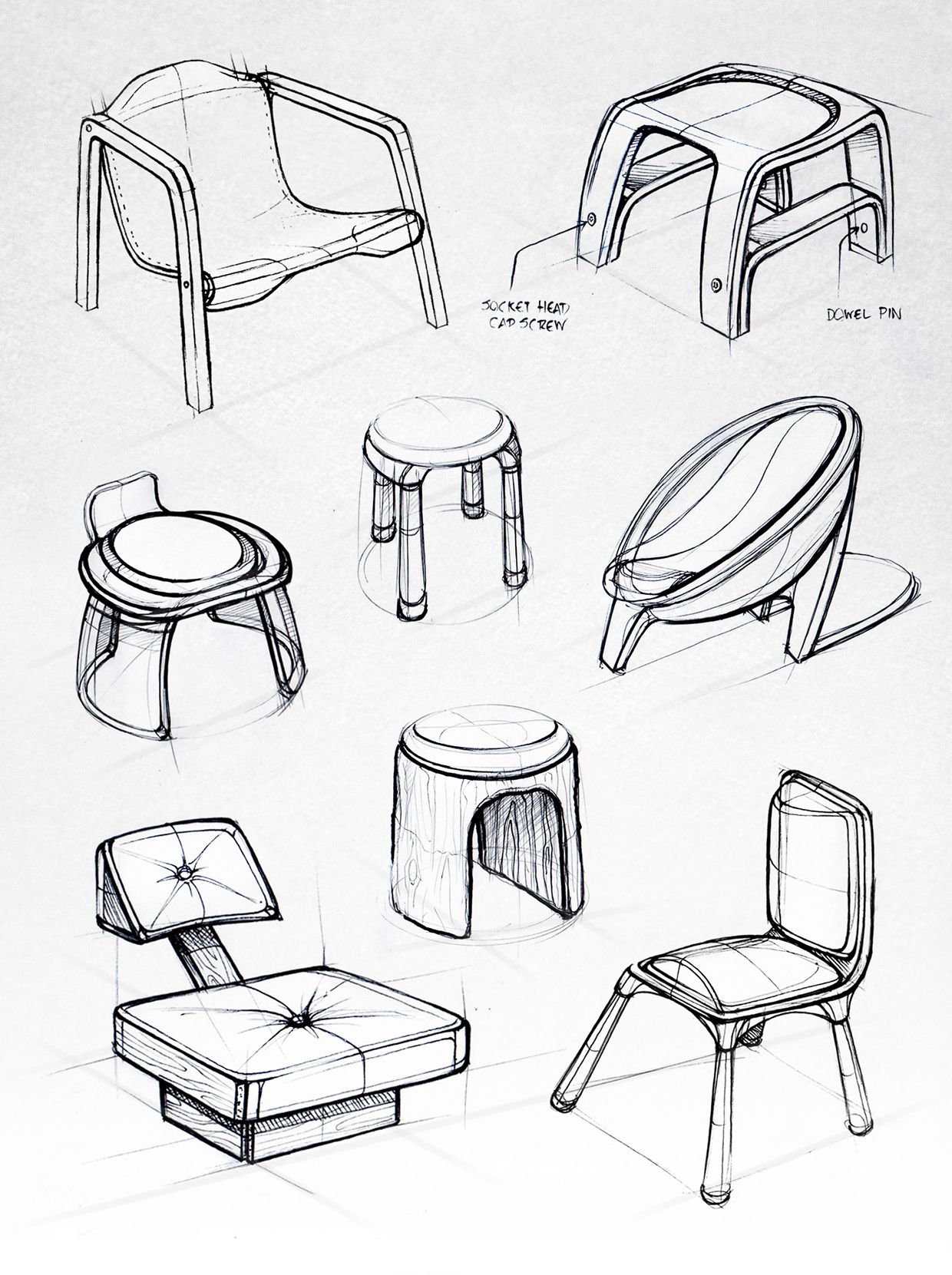 Industrial design sketches furniture - Various Chair Sketches Design Sketchbook Ii On Behance Matt Seibert