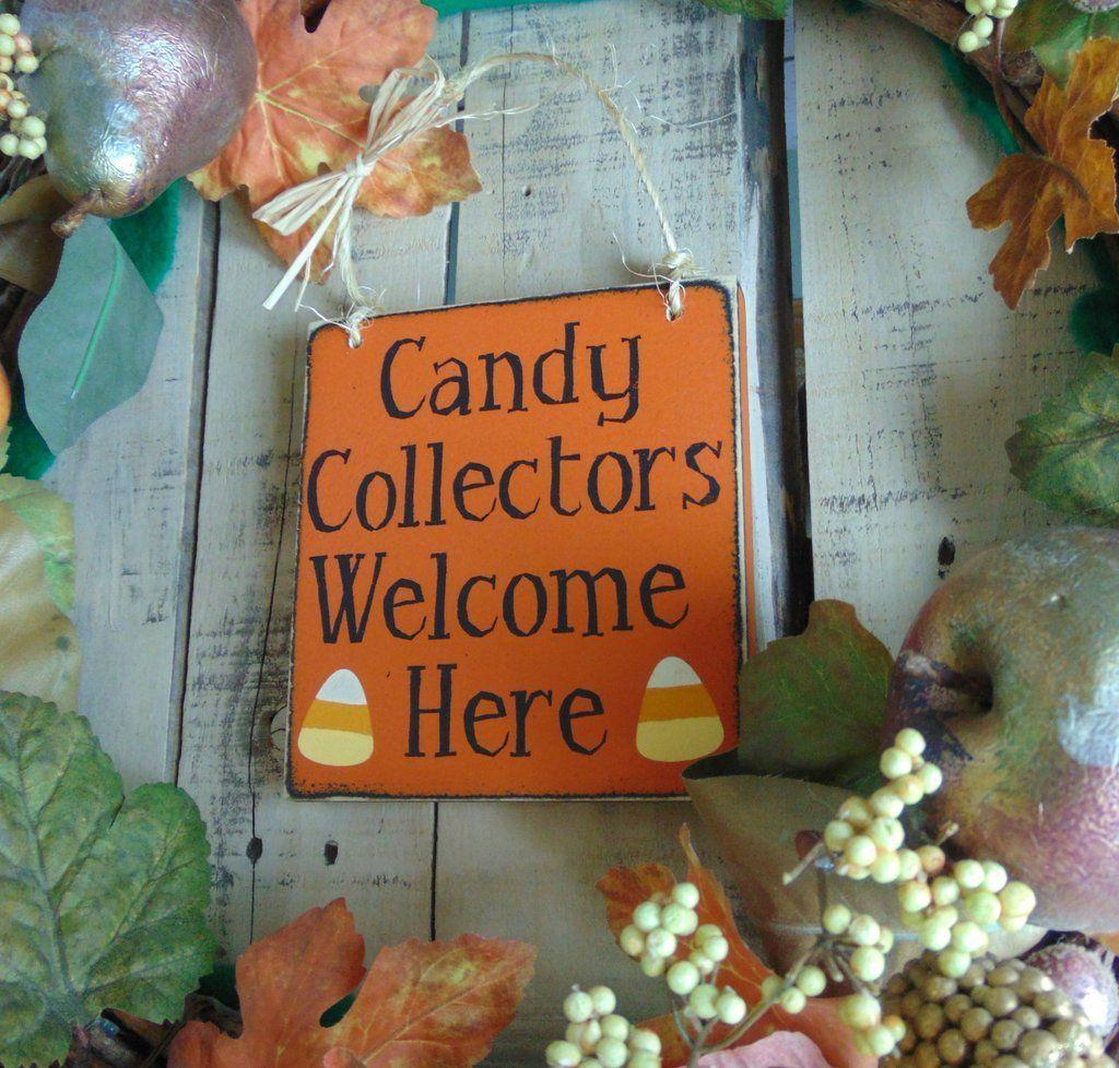 Happy Halloween Sign, Front Door Decor, Candy Collectors Welcome - halloween front door decor