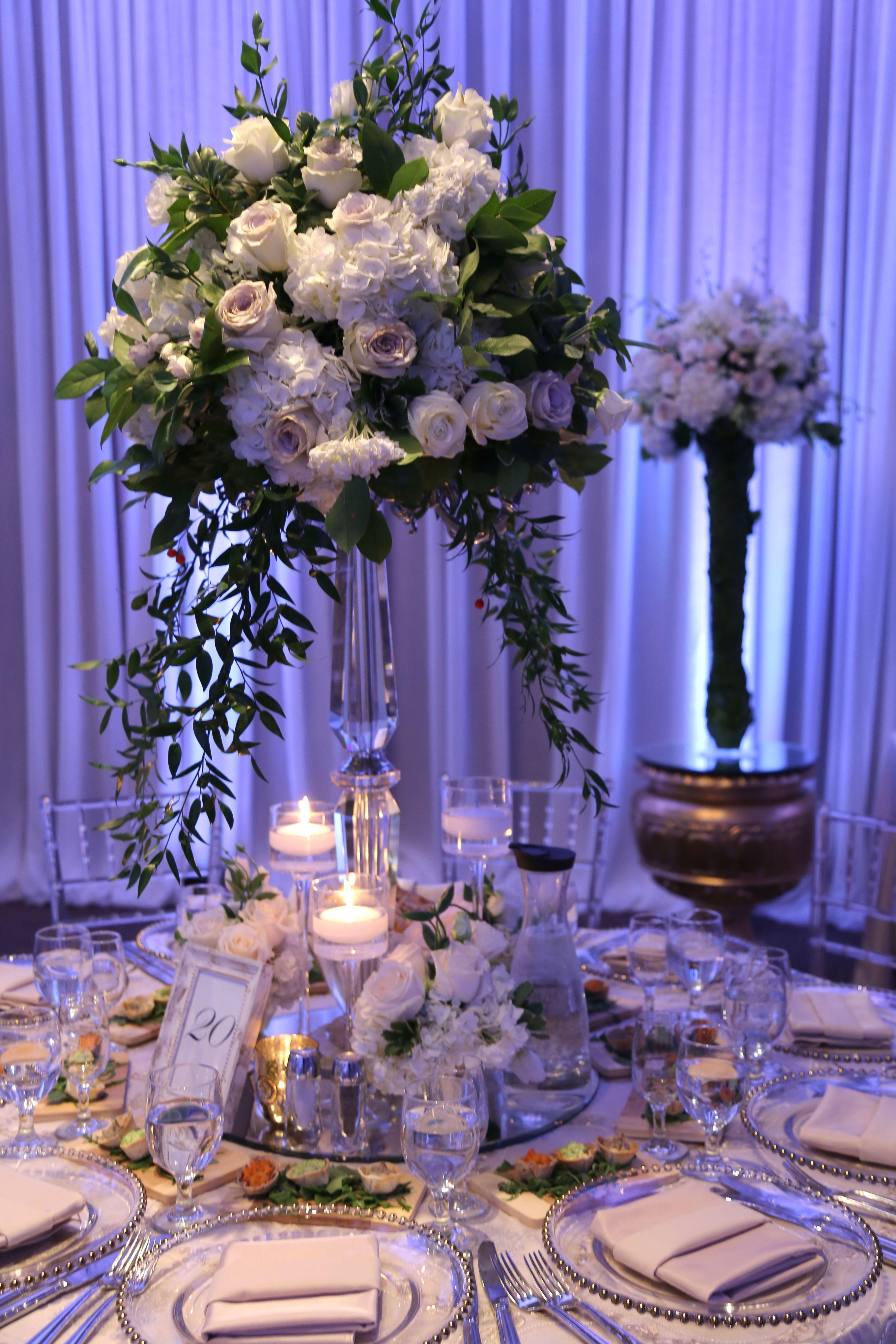 Garden event decor  Garden Centerpiece with crystal candelabra  Wedding Decor