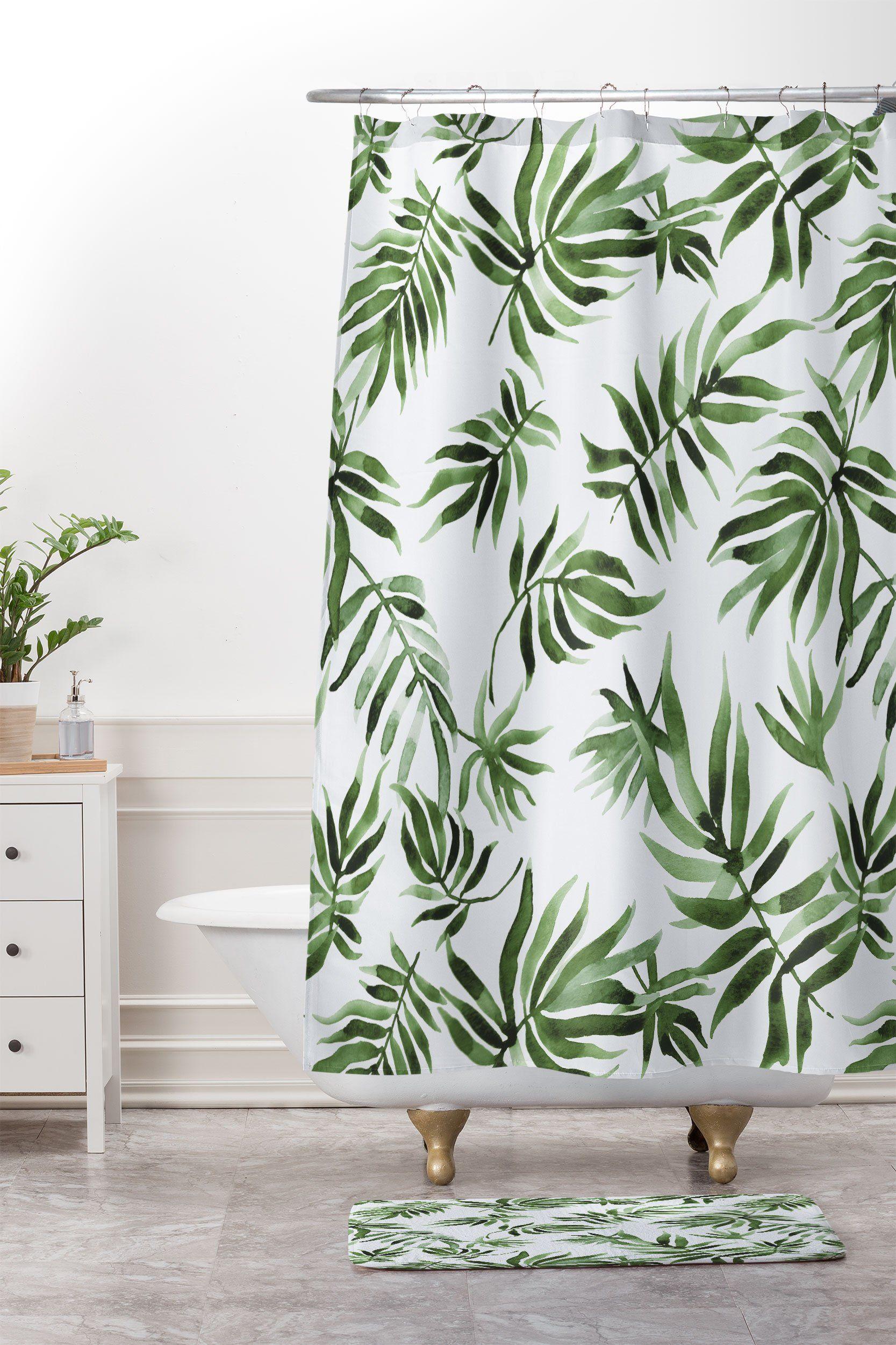 Watercolor Green Leaf Shower Curtain And Mat Marta Barragan