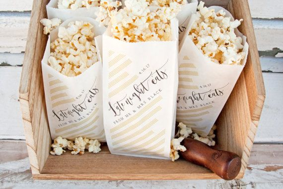 Wedding Favor Personalized Popcorn Bags Nye Or Evening