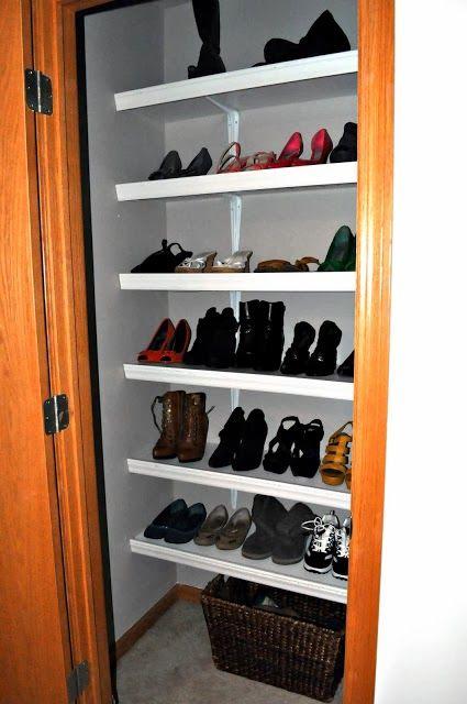 turn small closet into shoe closet alwayschasinglife pinterest